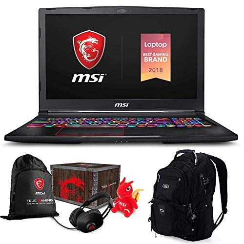 "MSI GE63 Raider RGB-052 Premium Gaming Laptop (Intel i7-8750H, 32GB RAM, 1TB HDD + 256GB PCIe SSD, 15.6"" FHD 1920x1080 IPS Display, RTX 2070, RGB Keyboard, Win 10 Home) MSI Loot Box and ME2 Backpack"